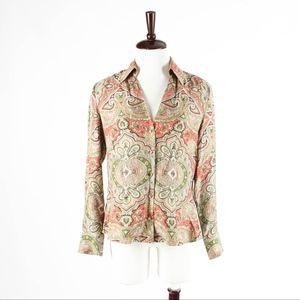 ANN TAYOR – Gorgeous Paisley Silk Blouse Top – 10